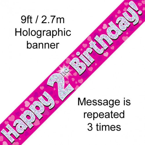 9ft Banner 2Nd Birthday Pink Holographic