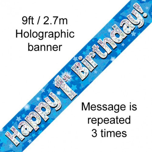 9ft Banner 1st Birthday Blue Holographic