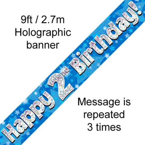 9ft Banner 2Nd Birthday Blue Holographic