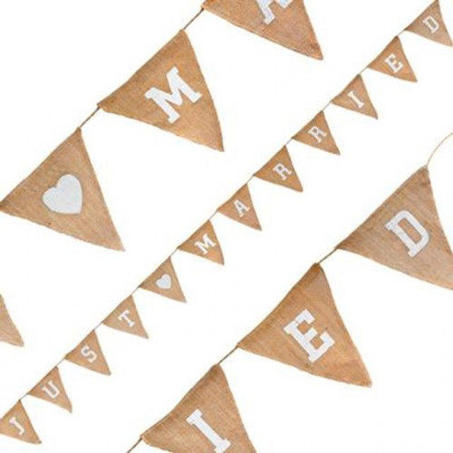 Natural Hessian Bunting Just Married 12 Flags 3.2M