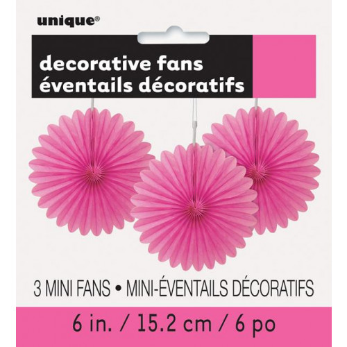 "3 DECOR FAN 6"" HOT PINK"