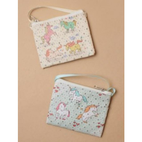 PURSE / UNICORN PRINTED FABRIC PURSE WITH SHOULDER STRAP.