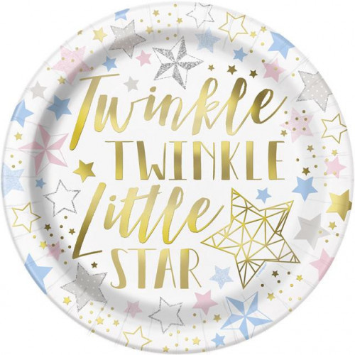 """8 TWINKLE LITLLE STAR 9"""" PAPER PLATES"""