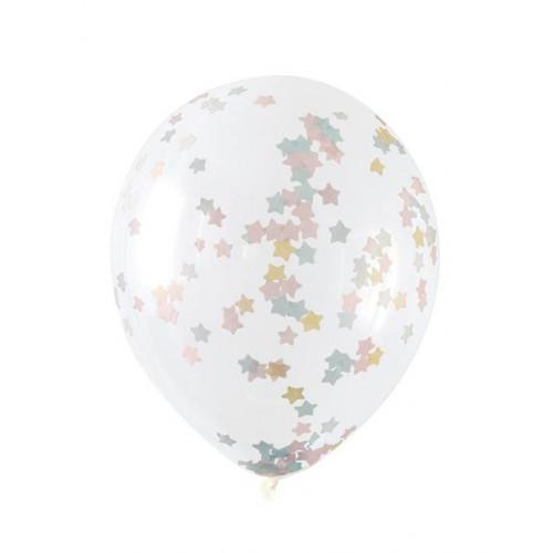 "5 Clear 16"" Latex Star Confetti Pink"