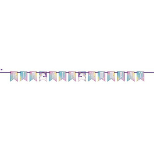 UNICORN PARTY PENNANT BANNER-7FT