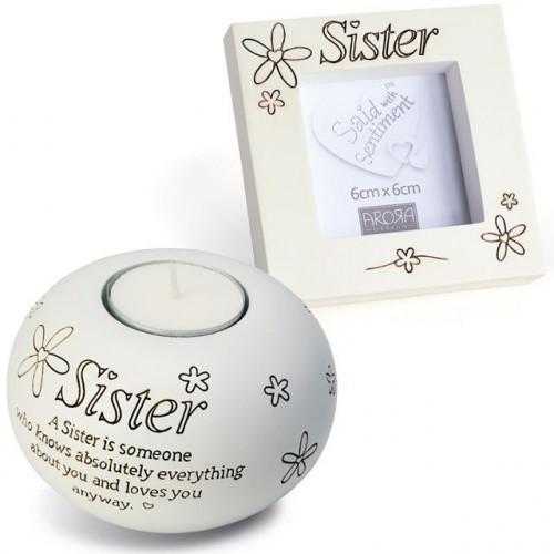 Sister Tealight & Frame Gift Set