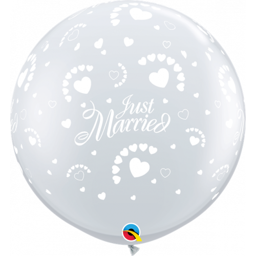 3Ft Pk2 Just Married Hearts