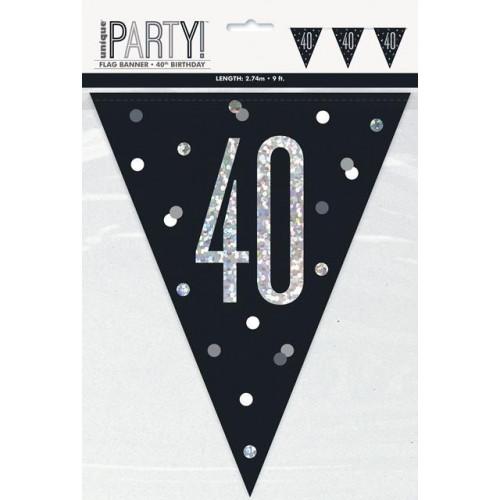 GLITZ BLACK 40 FLAG BANNER-9FT
