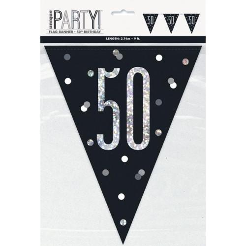 GLITZ BLACK 50 FLAG BANNER-9FT
