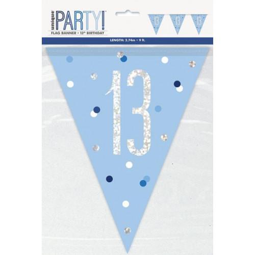GLITZ BLUE 13 FLAG BANNER-9FT