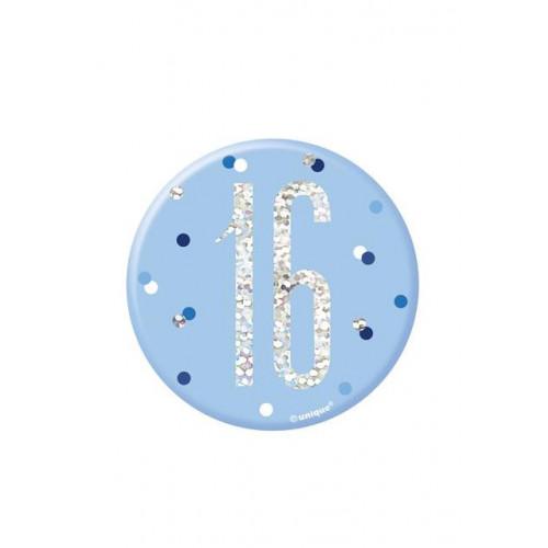 "BIRTHDAY GLITZ BLUE 3"" BADGE-16"
