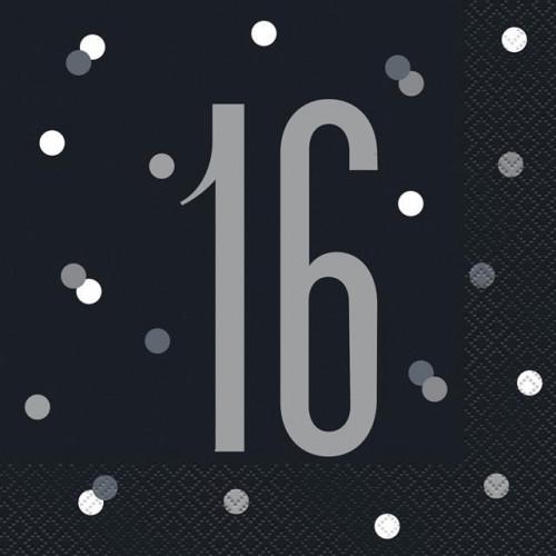 PK16 BIRTHDAY GLITZ BLACK LUNCH NAPKIN-16