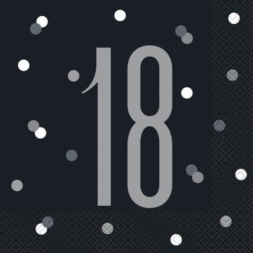 PK16 BIRTHDAY GLITZ BLACK LUNCH NAPKIN-18
