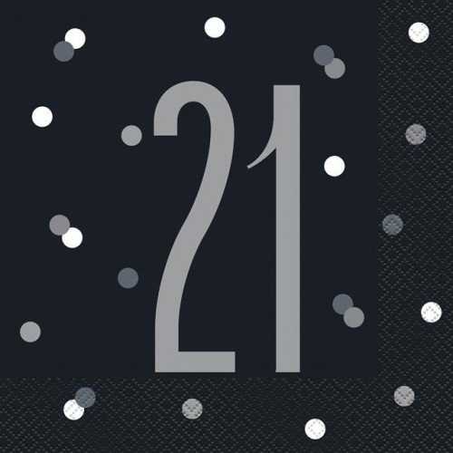 PK16 BIRTHDAY GLITZ BLACK LUNCH NAPKIN-21