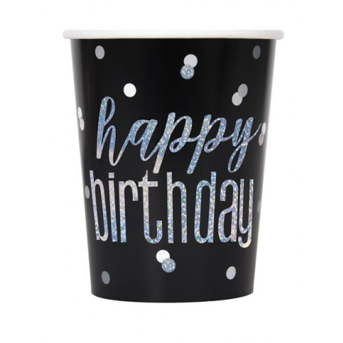 PK8 GLITZ BLACK HAPPY BIRTHDAY PRISMATIC 9OZ CUP