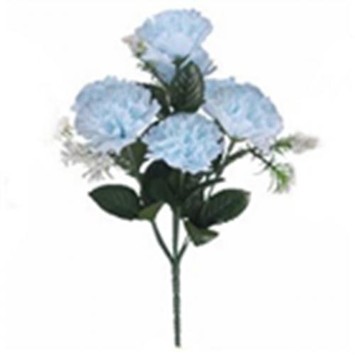 Carnation Bush With Gyp (7 Heads) Baby Blue