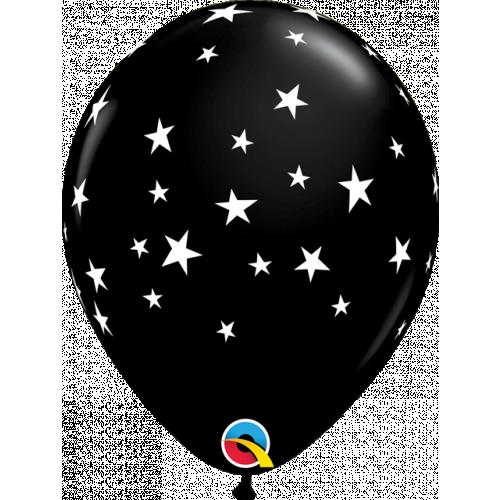 """11"""" Latex Onyx Black Pk25 Contempo Stars"""