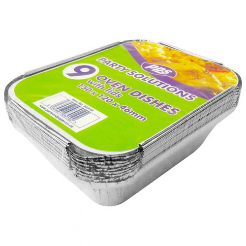 OVEN FOIL CONTAINERS & LIDS 150X120X46MM 9 PACK