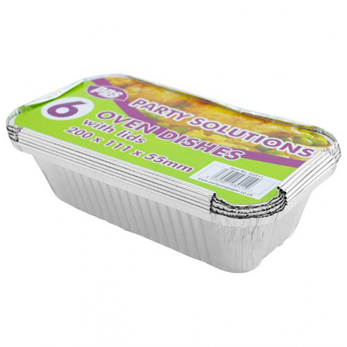OVEN FOIL CONTAINERS & LIDS 200X111X55MM 6 PACK