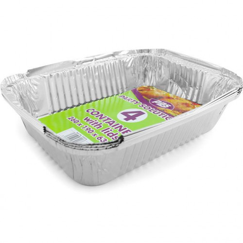 FOIL CONTAINERS & LIDS 260X190X63MM 4 PACK