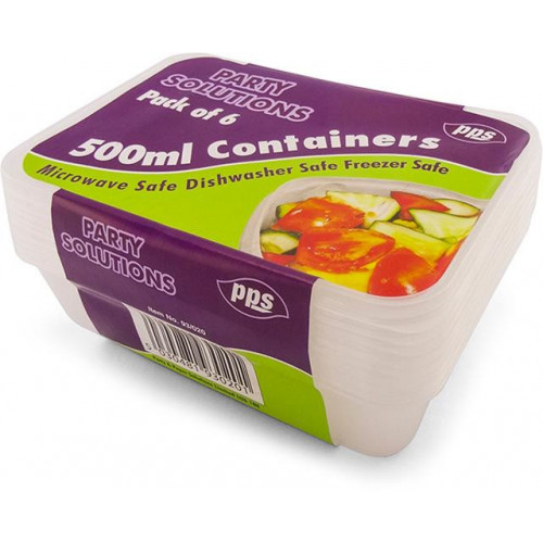 500ML FOOD CONTAINERS & LIDS 6 PACK 2 COMPARTMENTS