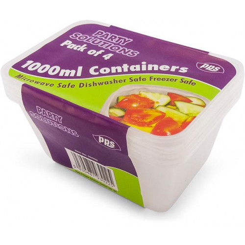 1000ML FOOD CONTAINERS & LIDS 4 PACK