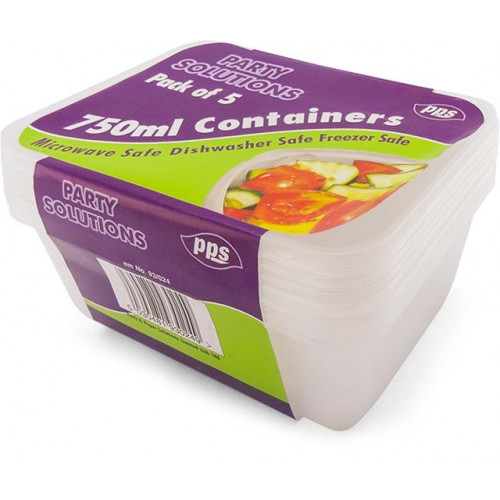 750ML FOOD CONTAINERS & LIDS 5 PACK