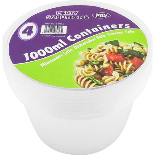1000ML ROUND FOOD CONTAINERS & LIDS 4 PACK
