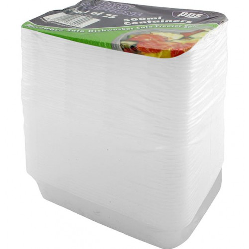 500ML FOOD CONTAINERS & LIDS 25 PACK