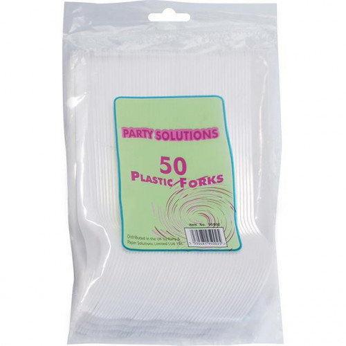 CUTLERY FORKS PLASTIC WHITE 50PK