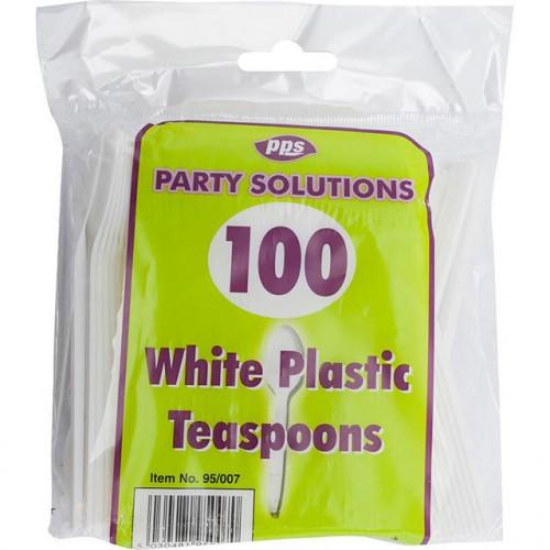 CUTLERY TEASPOONS PLASTIC WHITE 100 PK/20