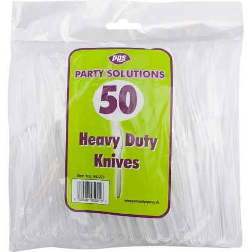 CUTLERY HEAVY DUTY PLASTIC KNIVES CLEAR PK50