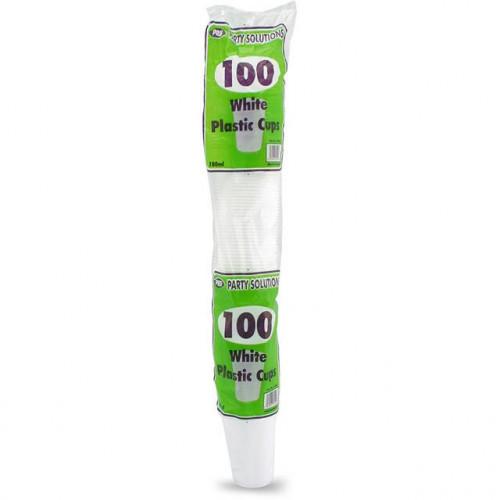 DRINK CUPS WHITE PLASTIC 100 PK180ML