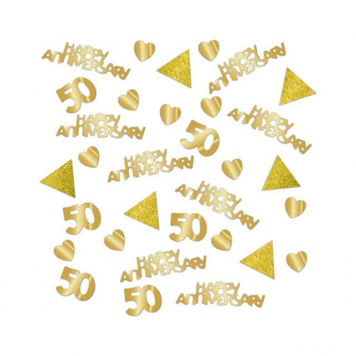 GOLD ANNIVERSARY CONFETTI 6 PIECES