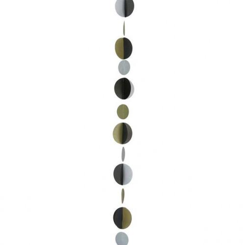 Balloon Tail-Circle Gold, Silver & Black 1.2M