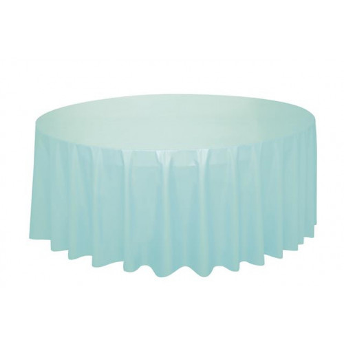 """MINT ROUND PLASTIC TABLECOVER 84"""""""