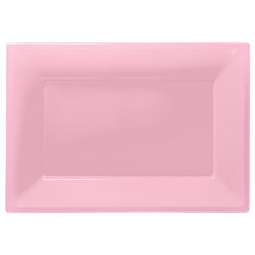 3 PLASTIC PLATTERS - NEW PINK