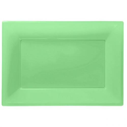 3 PLASTIC PLATTERS - KIWI GREEN