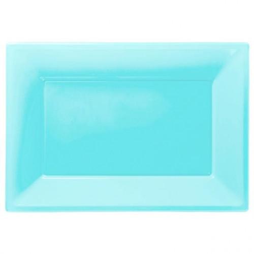 Caribbean Blue Plastic Platter 3pk Amscan