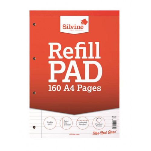 Silvine A4 Refill Pad, 160 pages, Feint & Margin (Red cover)