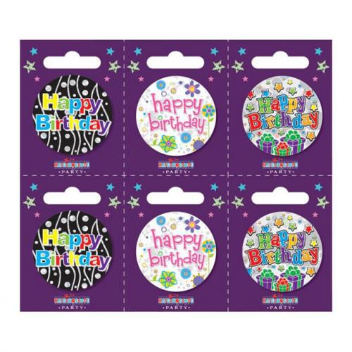 Birthday Pk6 Small Badges