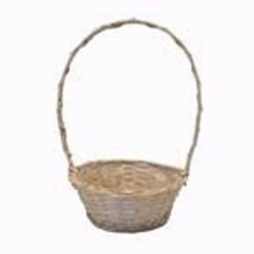 "9"" White Round Basket Florida With Handle"