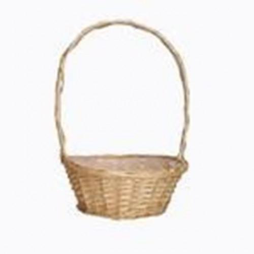 "10"" White Round Basket Florida With Handle"