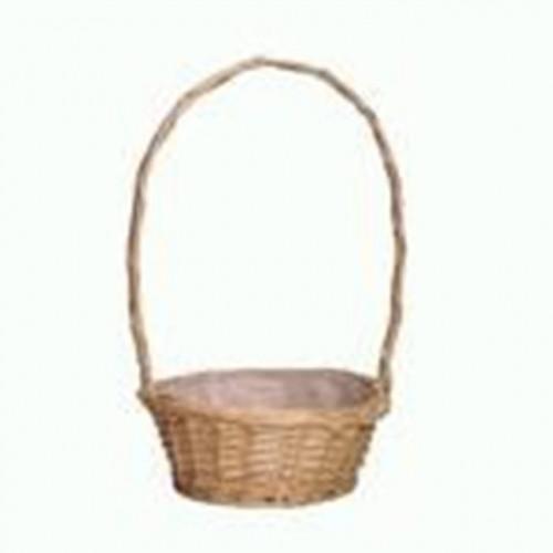 "12"" White Round Basket Florida With Handle"