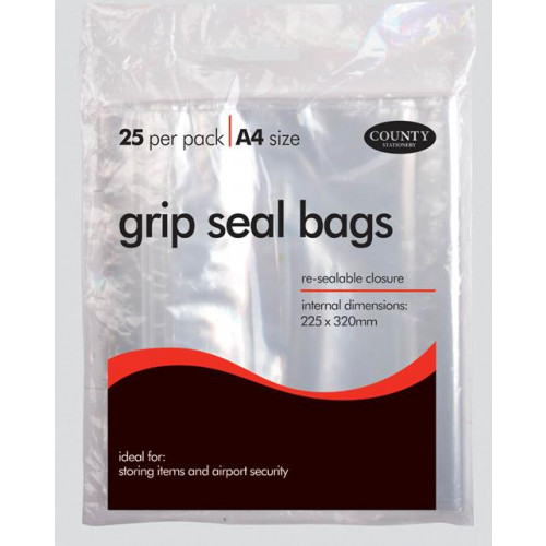 Grip Seal Bags 25's - A4