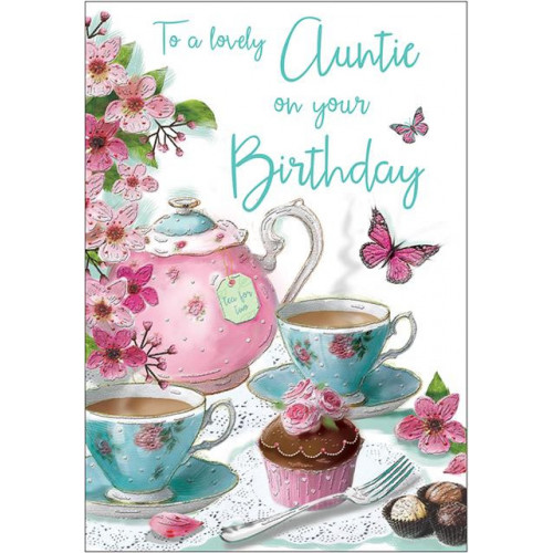 PK6 C75 CARDS Auntie Teapot 9 Special Thoughts NETT
