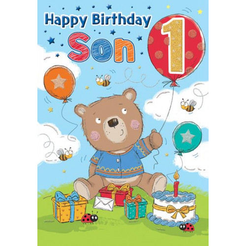 PK6 C75 CARDS Age 1 Son Bear with a balloon Special Thoughts NETT