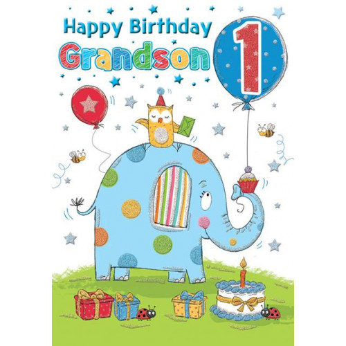 PK6 C75 CARDS Age 1 GRANDSON Elephant Special Thoughts NETT