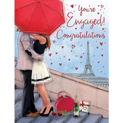 PK6 C55 CARDS Engagement Couple in Paris Special Thoughts NETT