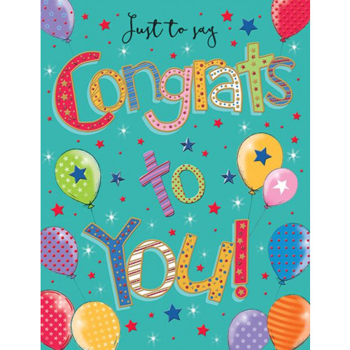 Counter Cards Pizzaz Congratulations Balloons 8 x 6  ,NETT